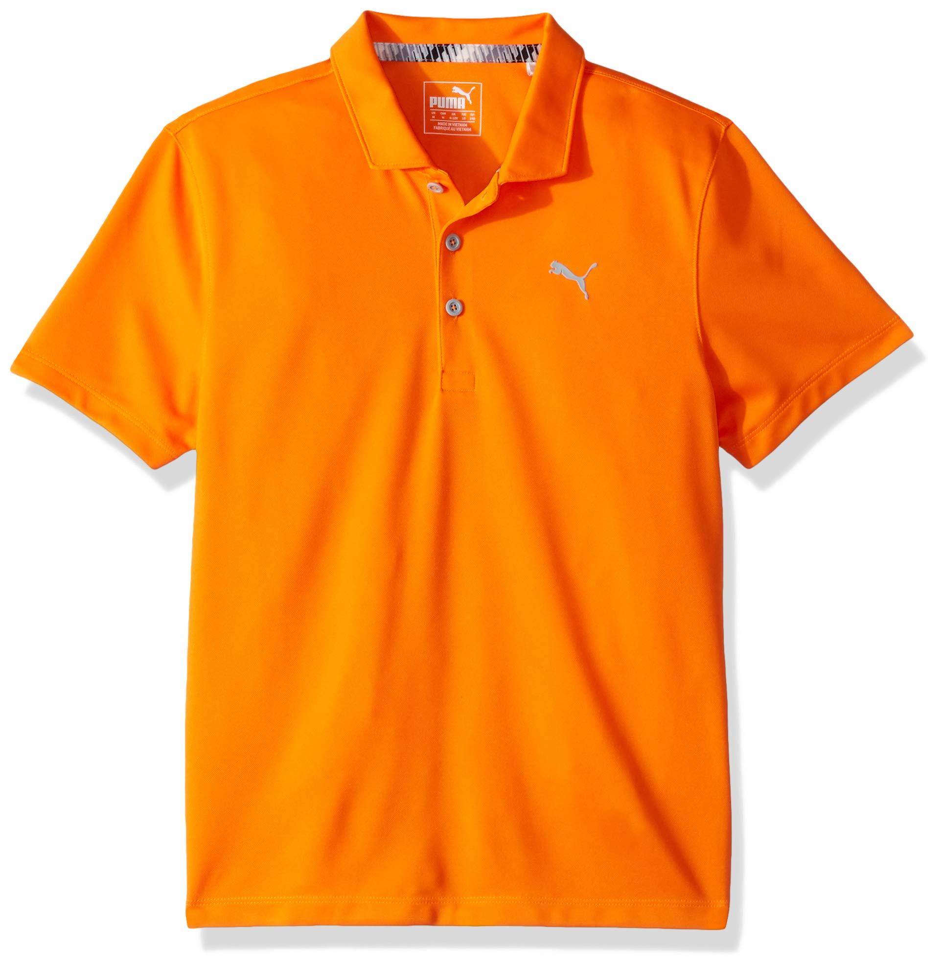 Puma Golf Boys 2019 Polo, Vibrant Orange, Small