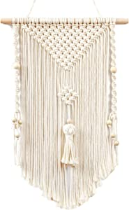 """TIMEYARD Small Macrame Wall Hanging Woven Tapestry Boho Chic Wood Beads Fringe Wall Art Home Decor for Apartment Nursery Dorm Room Gallery, 19"""" L x 13"""" W"""