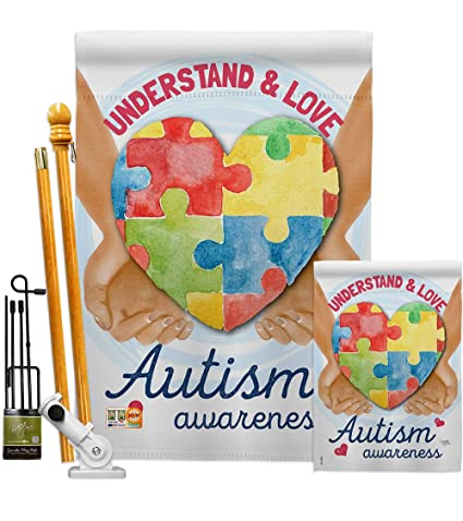 Breeze Decor Autism Awareness 2 Sided Vertical Impression House Flag 28 X 40 In Flags Home Garden