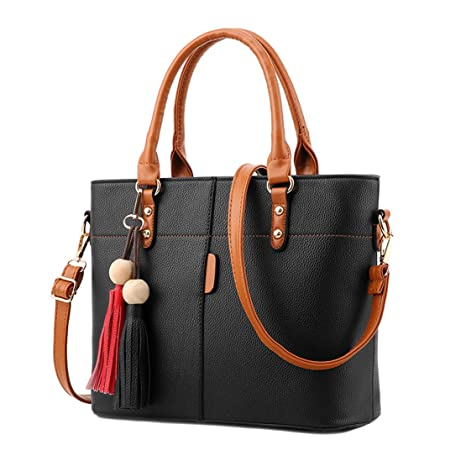 b7fa369653 Womens Tote Handbag PU Leather Crossbody Shoulder Bag Ladies Crossbody  Messenger Bag Fashion Shopping Bag Black