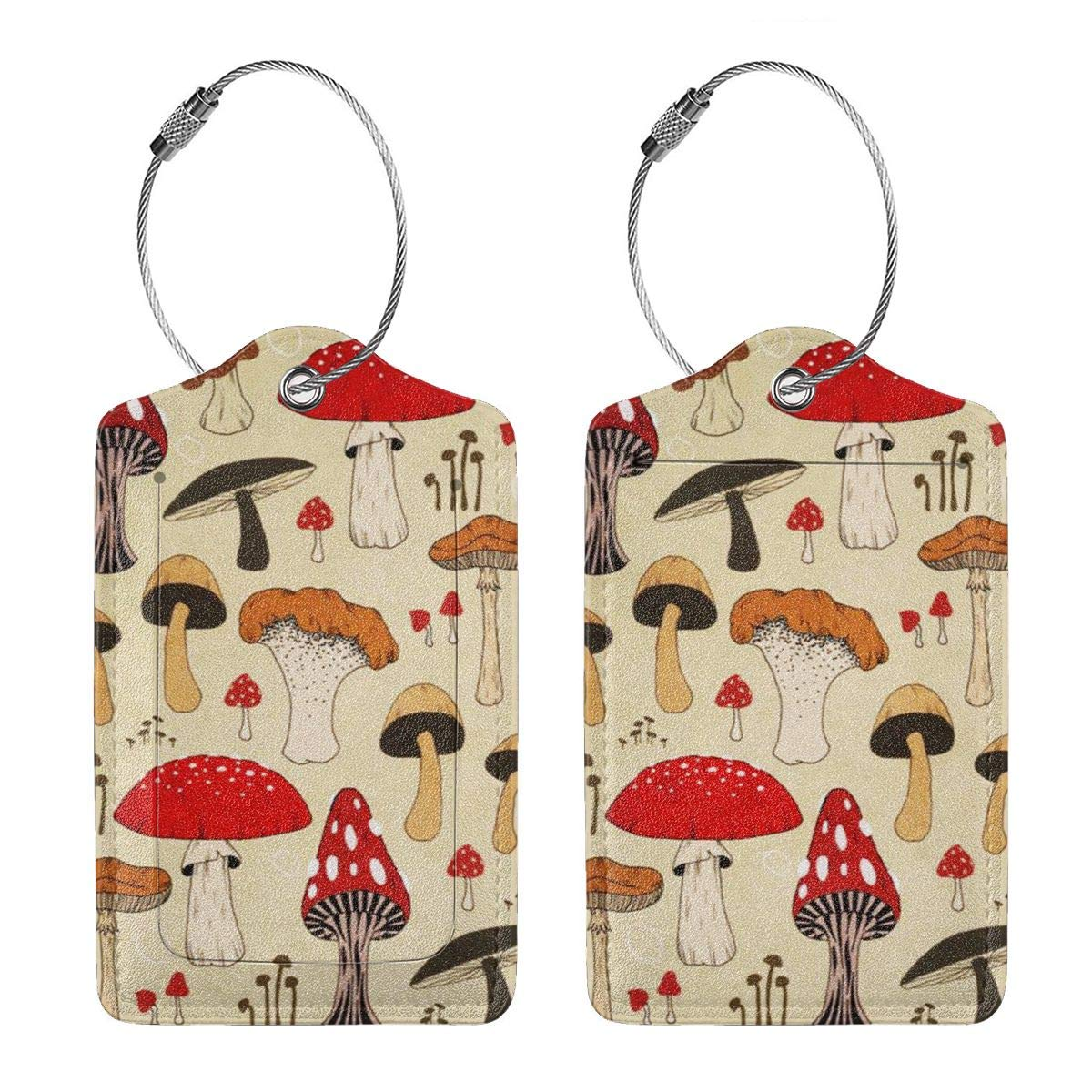 The Various Mushroom Art Luggage Tag Label Travel Bag Label With Privacy Cover Luggage Tag Leather Personalized Suitcase Tag Travel Accessories