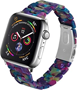 Resin Watch Band Compatible with Apple, Lightweight Fashion Resin iWatch Band Bracelet for Apple Watch Series 6 Series SE Series 5 Series 4 Series 3 Series 2 1 (Purple Green Flower, 38mm/40mm)