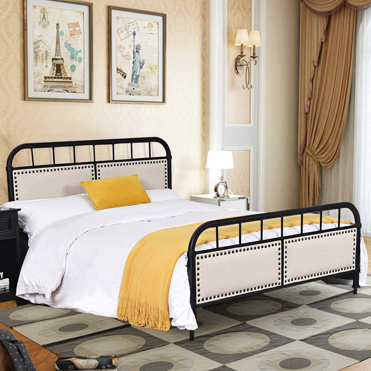 Giantex Metal Bed Platform Frame with Comfortable Upholstered Headboard and Footboard, Solid Design and Vintage Style, for Mattress Foundation Black