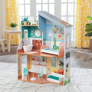 KidKraft 65988Emily Wooden Dollhouse with Furniture, Multicolor