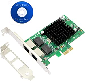CERRXIAN Dual Port Gigabit Ethernet PCI Express PCI-E 1x Slot Network Card NIC 10/100 / 1000 Mbps with Low Profile Bracket for Desktop PC