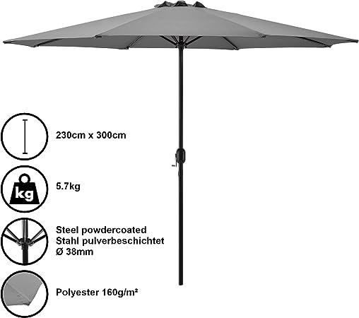 casa.pro] Sombrilla Ø 300cm [gris] con manivela parasol para jardín, terraza, balcón patio: Amazon.es: Hogar