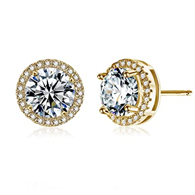 Amazon Com Jane Stone 14k Gold Plated Earrings Studs Sterling