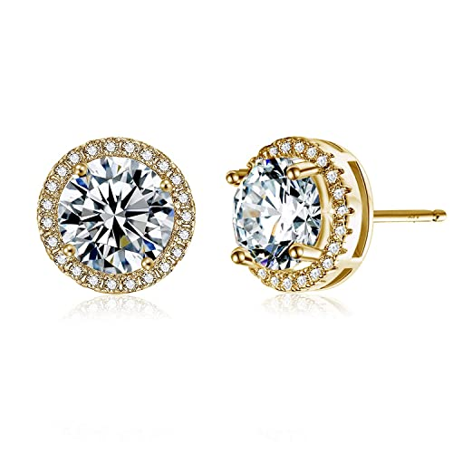 f3a2da94b Image Unavailable. Image not available for. Color: Jane Stone 14K Gold  Plated Earrings Studs Sterling Silver Round-Cut Cubic Zirconia ...