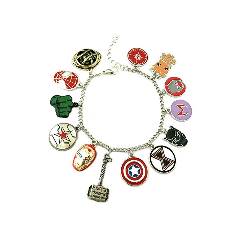 Athena Marvel Avengers Infinity War 13 Superhero Logo Themed Charm Movie Jewelry Bracelet w/Gift Box