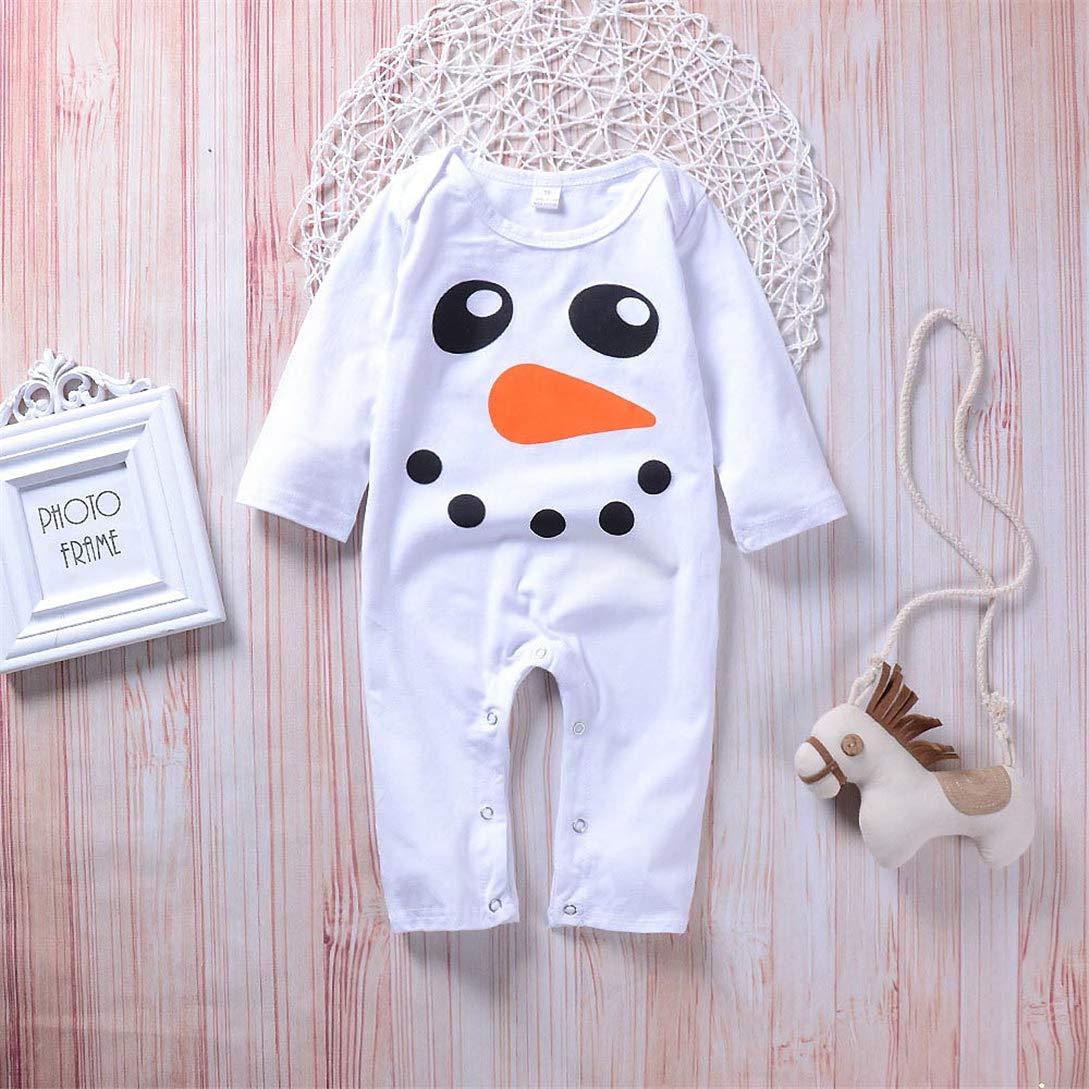 Neonato Baby Boy Ragazze Pupazzo di Neve Stampa Bambini Vestiti Romper Tuta Kword Bambino Tuta Manica Lunga