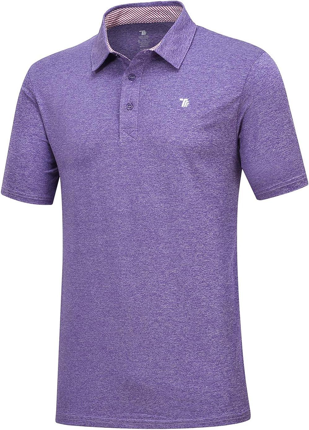 JINSHI Men's Golf Shirts Short Sleeve Polo Shirts Casual Dry Fit Athletic Shirts Tee