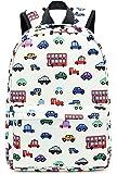 Kids Backpack for Boys Toddler Backpack Preschool Bookbag Nursery Daycare Elementary (White - car)