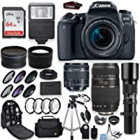 Canon EOS 77D DSLR Camera + Canon EF-S 18-55mm + Tamron 70-300mm & 500mm Telephoto Lens + Wide Angle & Telephoto Lens + Macro Filter Kit + 64GB Memory + Accessory Kit Special