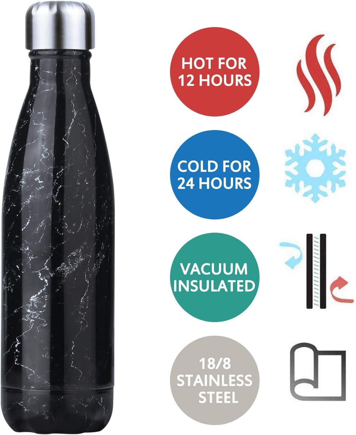 hombres y mujeres mantiene el fr/ío y el calor para yoga Waflyer deportes al aire libre 500 ml Botella de agua de acero inoxidable a prueba de fugas botella de bebidas de doble pared aislada al vac/ío camping taza de viaje