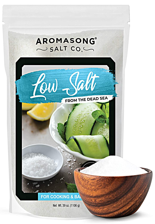 AROMASONG 100% Natural Low Sodium Sea salt, 68% Less Sodium, Bulk 2.43 LB Bag, Fine Grain, Combination of Dead sea potassium chloride & Dead sea salt Used as Table salt Substitute for Low Sodium Diet.