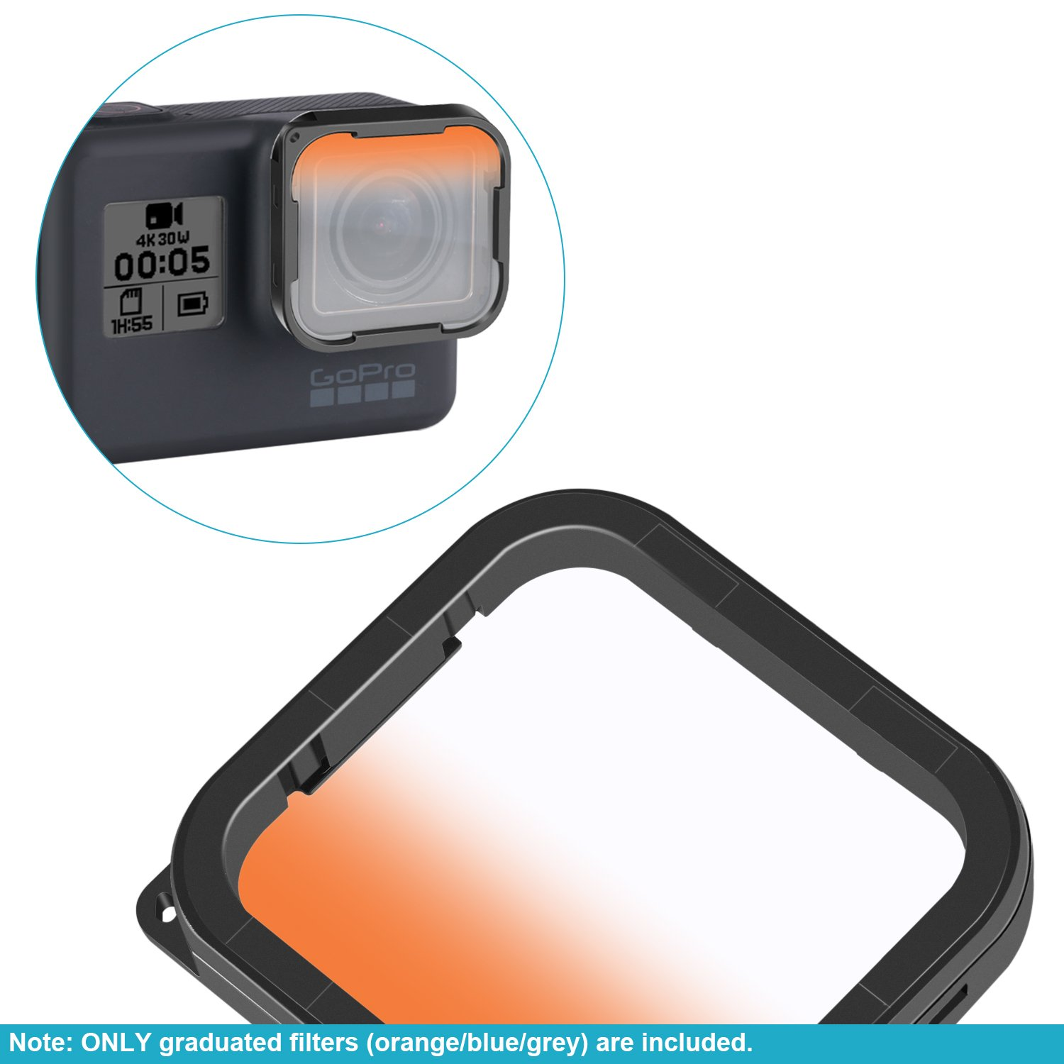 Snorkeling Neewer 3 Pack Dive Filter for GoPro Hero 6//5 Housing Enhances Color Under Various Photography Conditions for Diving Graduated Orange//Blue//Grey and Scuba Diving