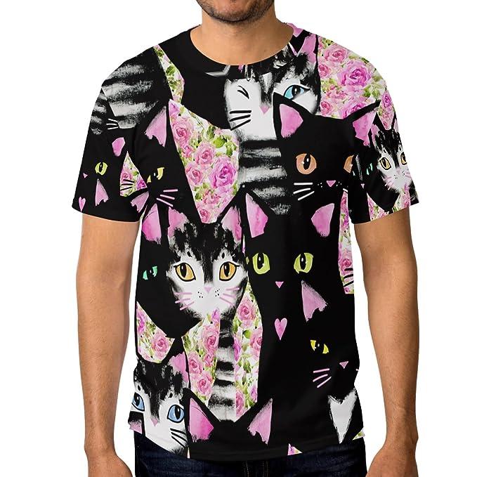 ALAZA Hombre Gatos Linda Flor de Manga Corta Camiseta Casual de Cuello: Amazon.es: Ropa y accesorios