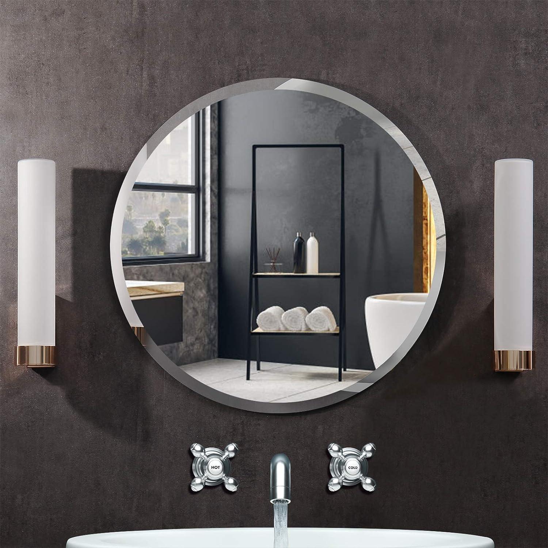 Amazon Com Kohros Round Beveled Polished Frameless Wall Mirror For Bathroom Vanity Bedroom 31 5 Round Home Kitchen