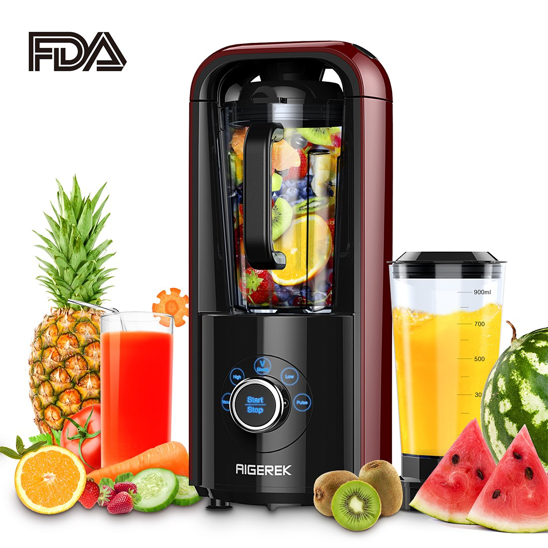 Smoothie Blender, Aigerek Professional High-Speed Drink Mixer and Ice Crusher, Electric Digital Self-Clean Blender for Ice Fruits Vegetables Smoothies and Shakes with Recipe Book, 1ps Vacuum Cup