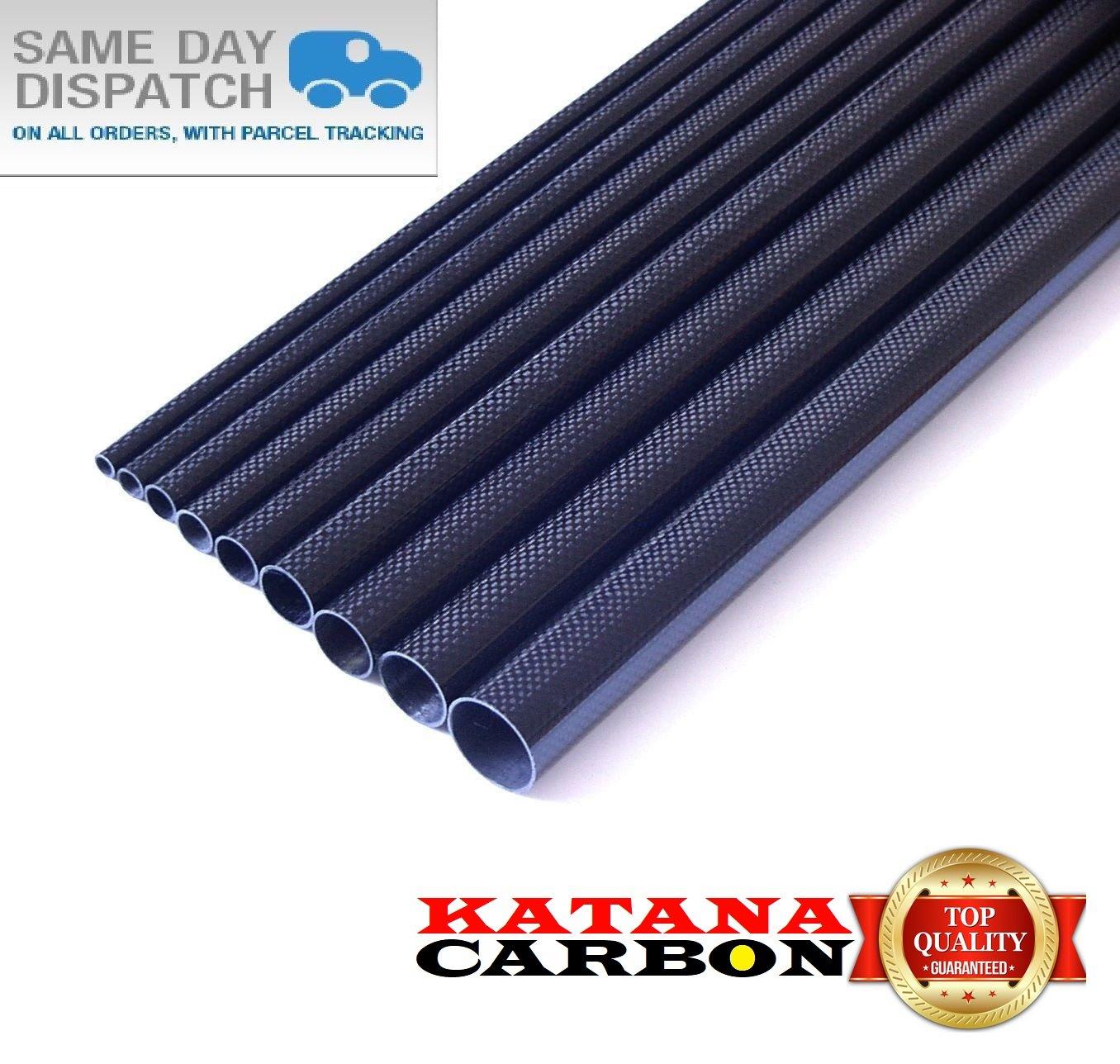 1x 40mm OD x 38mm ID x 800mm 3k Carbon Fibre Tube Roll-Wrapped