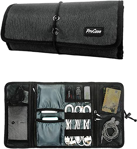 ProCase Travel Gear Organizer Electronics Accessories Bag, Small Gadget Carry Case Storage Bag Pouch for Charger USB Cables SD Memory Cards Earphone