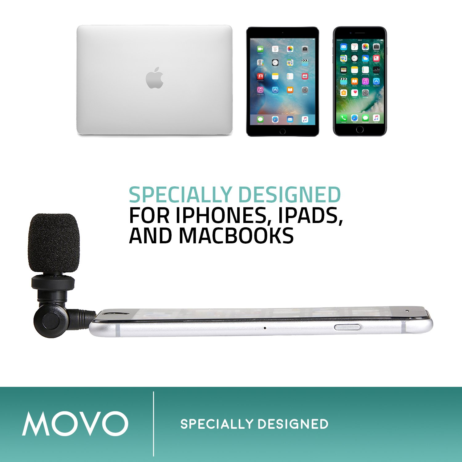 Saramonic SmartMic Microphone with Lightning Dongle Clip for iPhone 7, iPhone 7 Plus, iPhone 8, iPhone X, and other iOS Devices (Black) by Movo (Image #5)