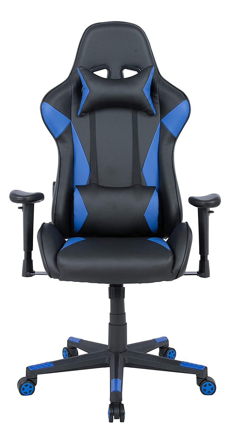 AmazonBasics Gaming Chair - Racing Style Seat with Headrest and Firm Lumbar Support, Easy Assembly - Blue