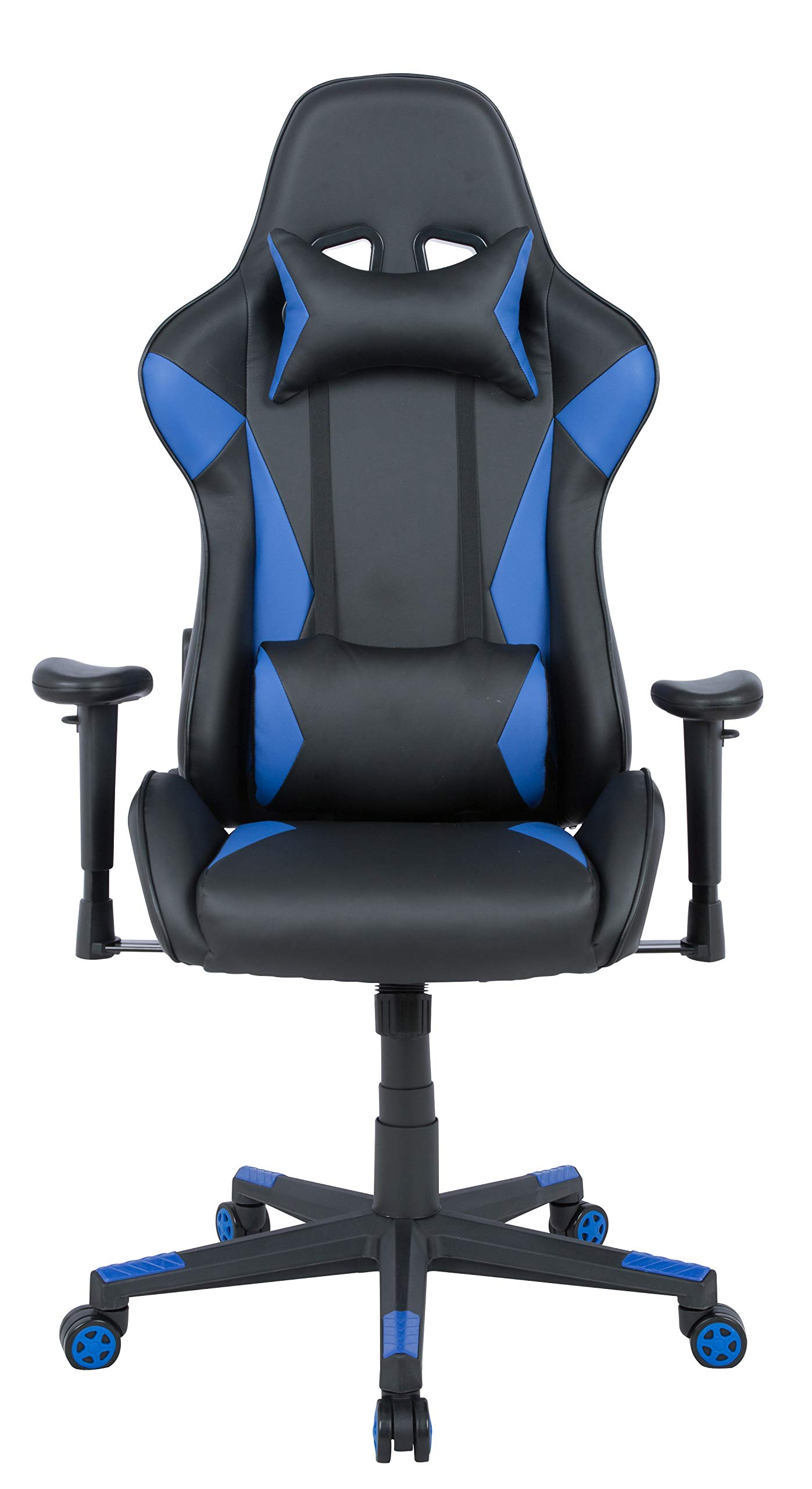 AmazonBasics Gaming Office Chair - Racing Style Seat with Headrest and Firm Lumbar Support - Blue
