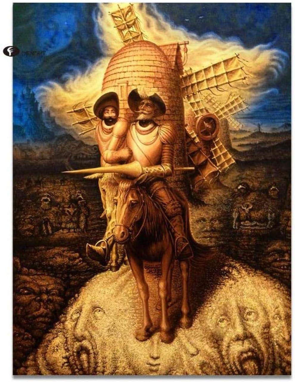 IOIUG Cuadros Abstractos de la decoración Pintura de la Lona Pinturas al óleo de Don Quijote Cuadros de la Pared para la Sala de Estar Decoración Moderna del hogar-No Frame-40x50cm