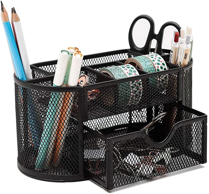 Pen Pencil Holder Office Desk Supplies Organizer Desktop Metal Storage Mesh