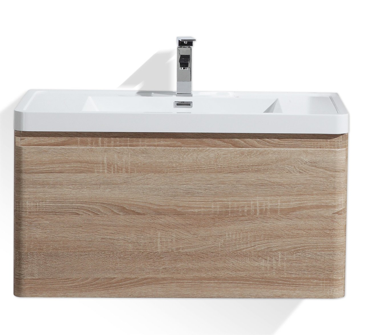 Lucky 36''Wall Mounted Modern Bathroom Vanity Sets with Acrylic Sink (White Oak) by Tona