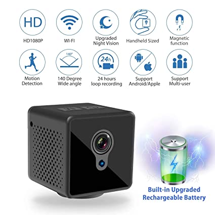 Mini Spy Camera WiFi, Relohas 1080P Spy Hidden Camera Upgraded Night Vision Spy Cam,