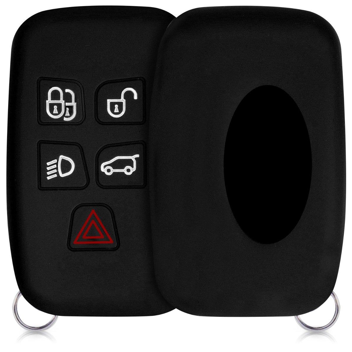 kwmobile Funda para Llave con Control Remoto de 5 Botones para Coche Land Rover Jaguar Carcasa Protectora de Suave - Case de Mando de Auto con dise/ño de Carbono Silicona