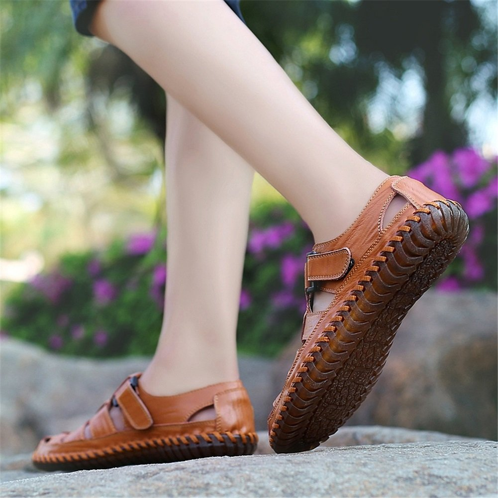 XUE XUE XUE Herrenschuhe Sandalen Leder Sommer Atmungsaktiv aushöhlen Loafers & Slip-Ons Schuh Driving Schuhe Casual Strand Schuhe Gelb, Rot, Schwarz ebe74d