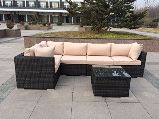 new rattan wicker conservatory outdoor garden furniture set corner sofa table - Garden Furniture Corner Sofa