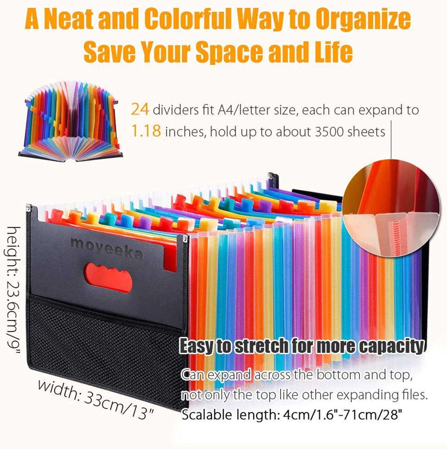 24 Pocket Expanding File Folder with Cloth Edge Wrap, Letter Size Organizer Expandable Accordion A4 Files Bag : Office Products