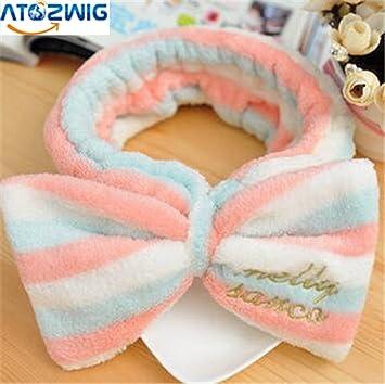 Amazon Com Atozwig Big Bow Dot Striped Soft Hair Band Head Wrap