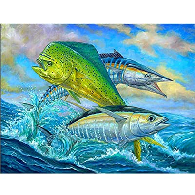Classic Jigsaw Puzzle 1000 Piece Wooden Adults Children Puzzles Three Jumping Fish Sea Art DIY Leisure Game Fun Toy Suitable Family Friends: Toys & Games