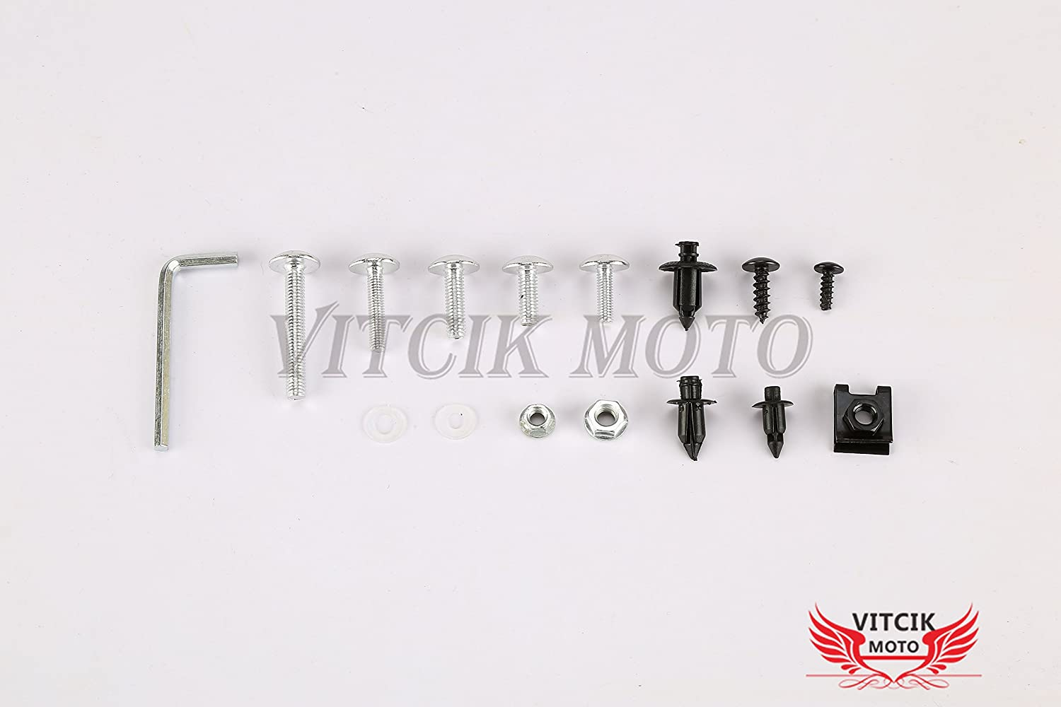 Green VITCIK Full Fairings Bolt Screw Kits for Kawasaki ZX6R ZX-6R Ninja 636 2007 2008 07 08 Motorcycle Fastener CNC Aluminium Clips