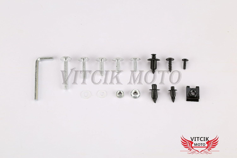 VITCIK Full Fairings Bolt Screw Kits for Yamaha YZF600 R6 2006 2007 YZF-600 YZF 600 R6 06 07 Motorcycle Fastener CNC Aluminium Clips Red /& Silver