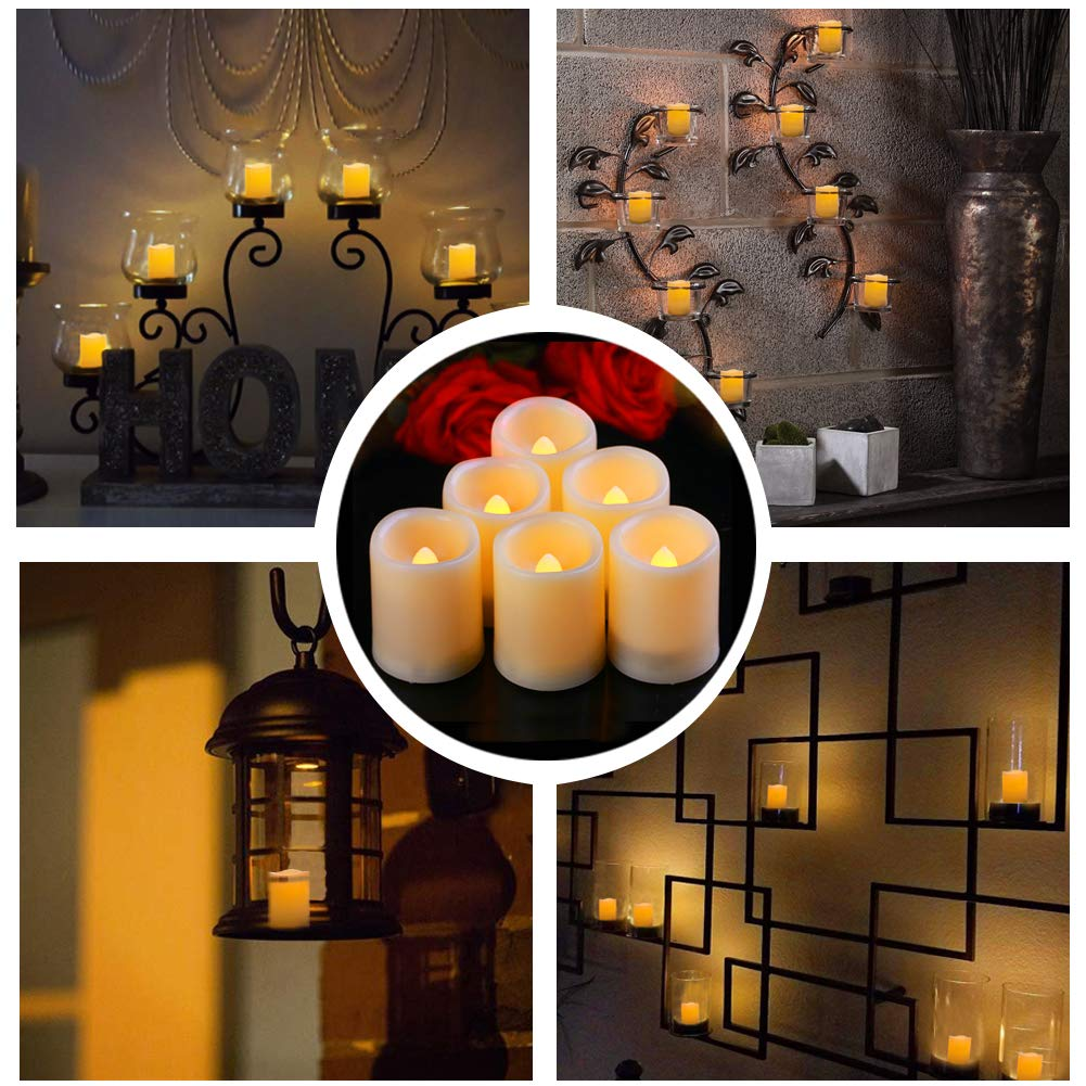 Beichi Set of 6 Remote Control Votive Candles Battery Operated, Flameless Flickering Tealight Candles, LED Timer Tea Lights in Amber Yellow Flame, Unscented Outdoor Electric Candles, D1.5''x2''H by Beichi (Image #3)