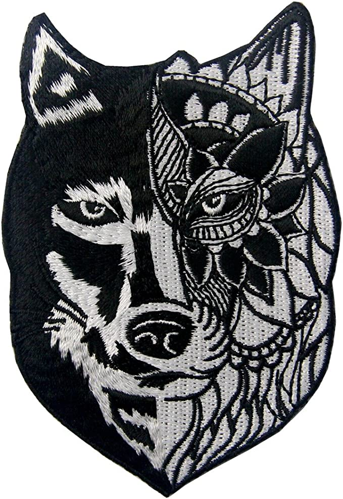 Large Coast Salish  /'/'Wolf/'/' Embroidered First Nations Patch