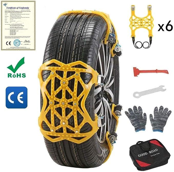 S SMAUTOP Cadenas de Nieve para Automóviles Universales Cadenas de Neumáticos 6 Piezas Antideslizante Universal para Neumáticos Ancho 165-285 mm ...