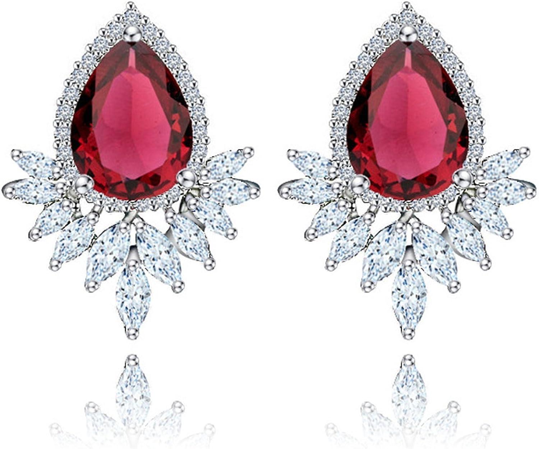 Beydodo Pendientes Chapado en Oro Pendientes Gota de Agua Pendientes de Mujer Pendientes Cristal Coral Pendientes Rojo