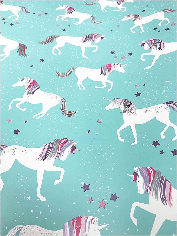 Nicole Miller Home Premium Foil Gift Wrap Continuous Paper Roll, Magical Unicorn, Blue