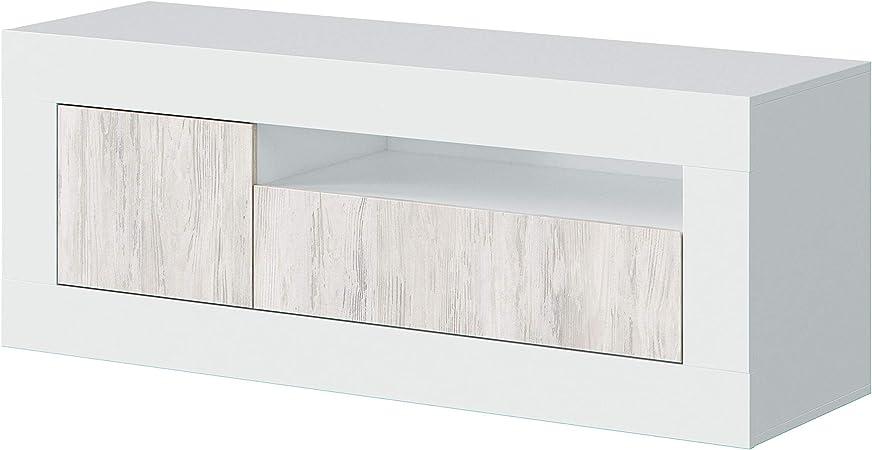 Oferta amazon: Habitdesign 036627A - Mueble de TV, modulo con Dos Puertas Acabado en Color Blanco Artik y Blanco Velho, Medidas: 139 cm (Ancho) x 53 cm (Alto) x 42 cm (Fondo)