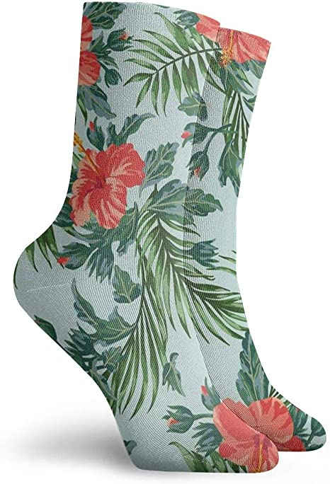 Mens Athletic Cushion Crew Sock tropical floral Hawaii trees forest Long Sock Breathable