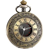Vintage Roman Numerals Scale Quartz Pocket Watch Mens Womens Watch with Chain Christmas Graduation Birthday Gifts Fathers Day