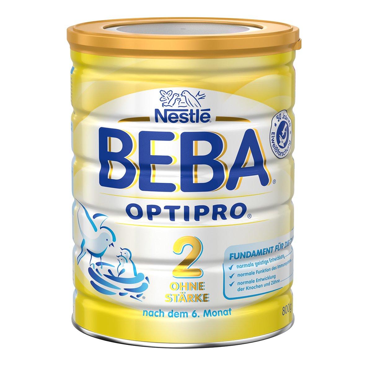 Nestlé BEBA OPTIPRO 2 ohne Stärke, Folgemilch nach dem 6. Monat, Baby-Nahrung als Pulver, im Anschluss ans Stillen, bei angemessener Beikost, 3er Pack (3 x 800 g Dose) Nestlé Nutrition GmbH 12340975
