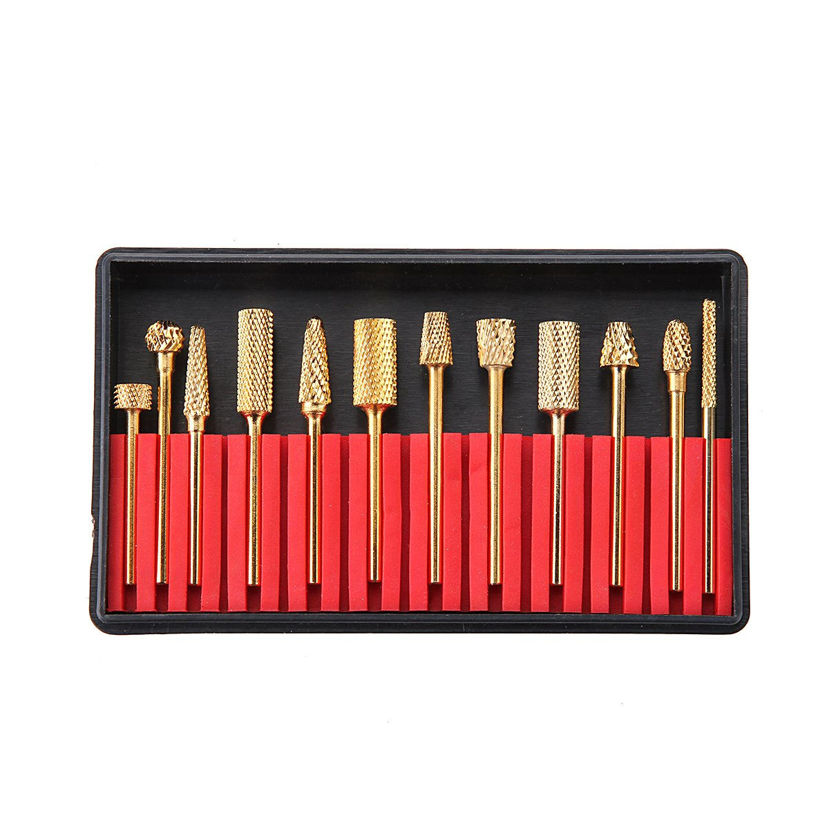 MAKARTT A-02 12Pcs Gold Carbide Nail Drill Bit Set Professional Bits Tools 3/32'' with Storage Case Holder